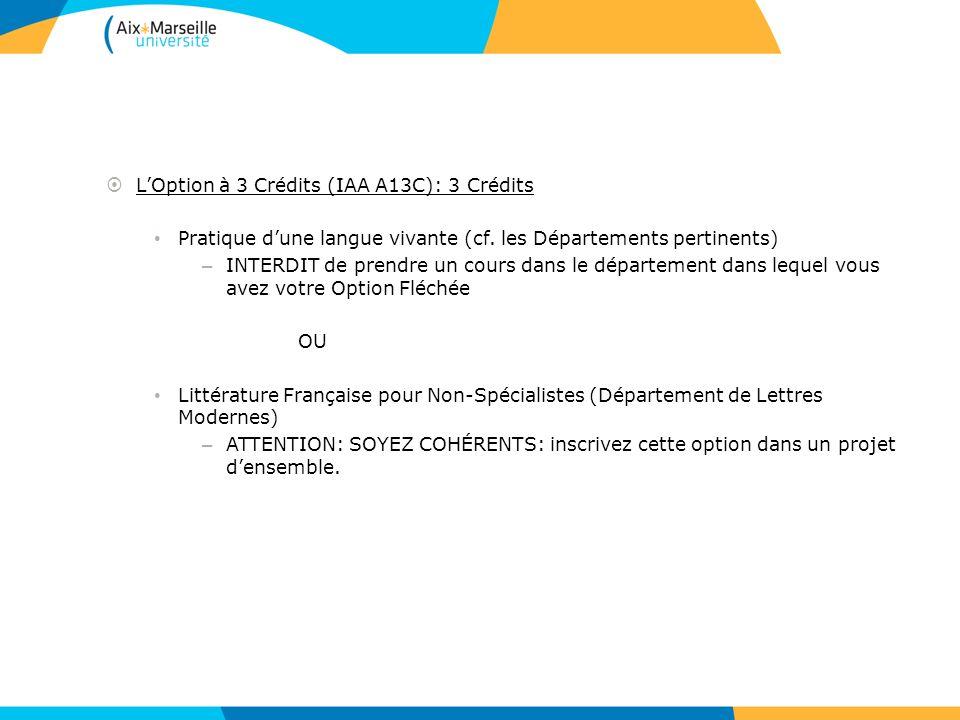 LOption à 3 Crédits (IAA A13C): 3 Crédits Pratique dune langue vivante (cf. les Départements pertinents) – INTERDIT de prendre un cours dans le départ