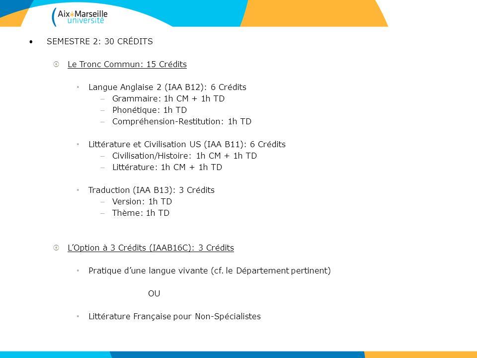 SEMESTRE 2: 30 CRÉDITS Le Tronc Commun: 15 Crédits Langue Anglaise 2 (IAA B12): 6 Crédits – Grammaire: 1h CM + 1h TD – Phonétique: 1h TD – Compréhensi