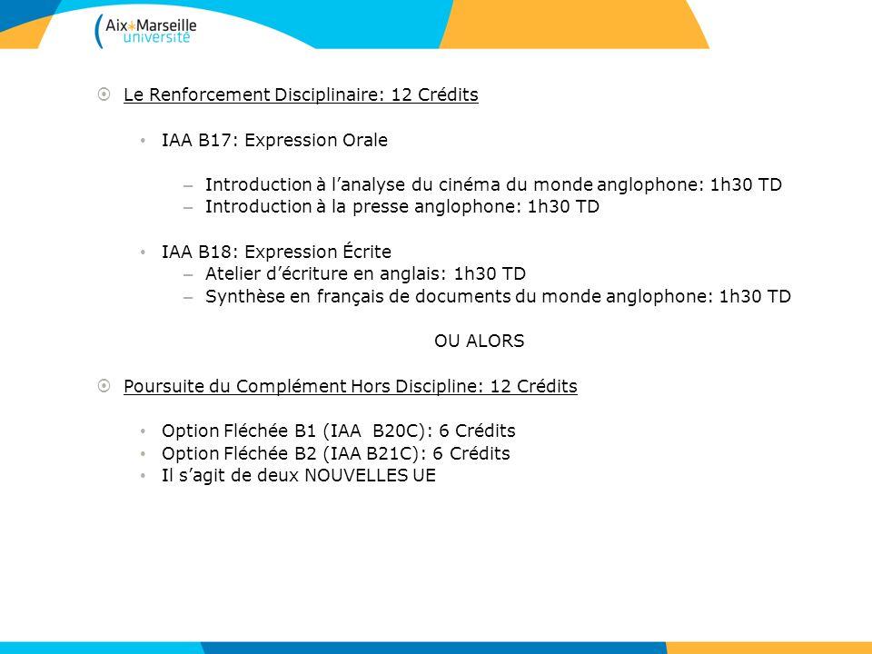Le Renforcement Disciplinaire: 12 Crédits IAA B17: Expression Orale – Introduction à lanalyse du cinéma du monde anglophone: 1h30 TD – Introduction à