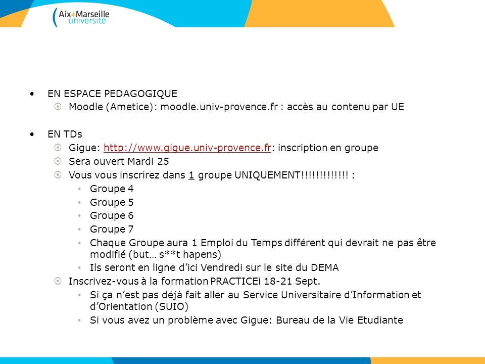 EN ESPACE PEDAGOGIQUE Moodle (Ametice): moodle.univ-provence.fr : accès au contenu par UE EN TDs Gigue: http://www.gigue.univ-provence.fr: inscription