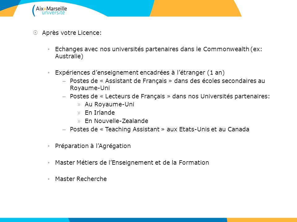 Après votre Licence: Echanges avec nos universités partenaires dans le Commonwealth (ex: Australie) Expériences denseignement encadrées à létranger (1