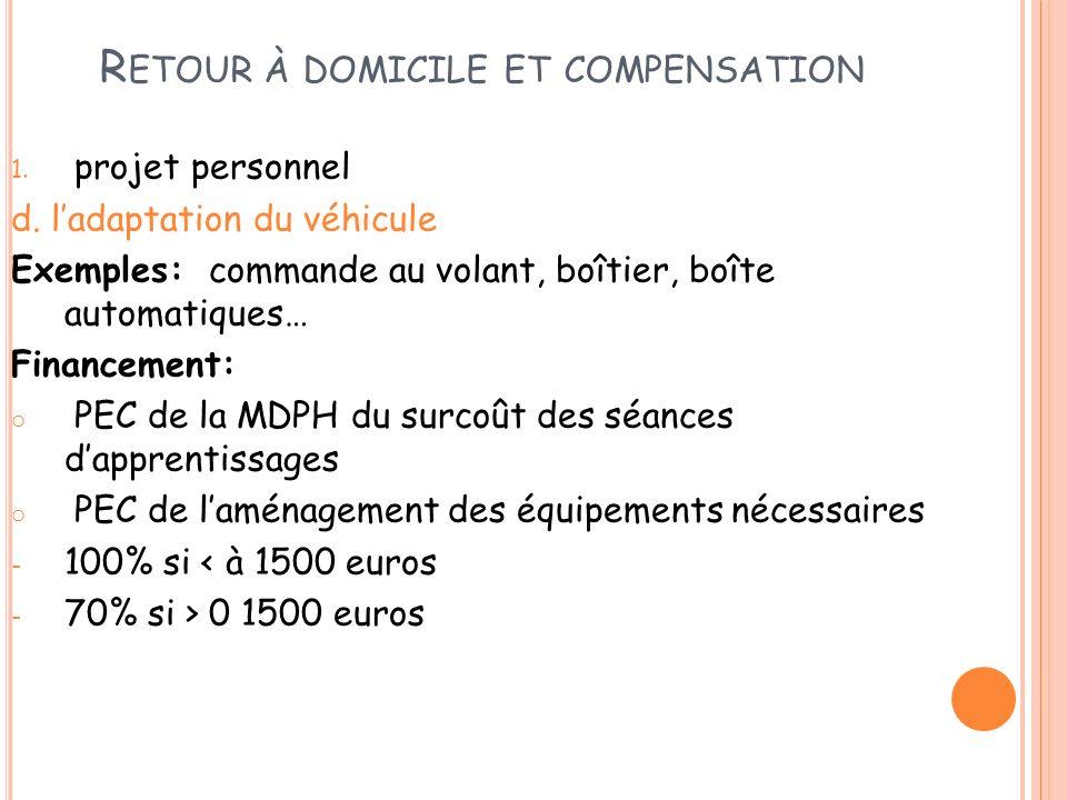 R ETOUR À DOMICILE ET COMPENSATION 1. projet personnel d. ladaptation du véhicule Exemples: commande au volant, boîtier, boîte automatiques… Financeme