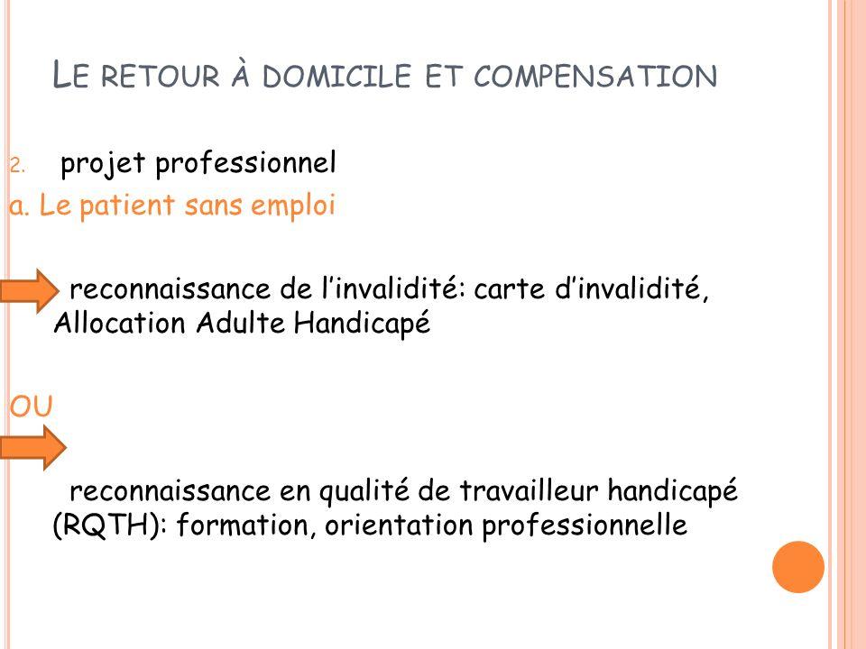 L E RETOUR À DOMICILE ET COMPENSATION 2. projet professionnel a. Le patient sans emploi reconnaissance de linvalidité: carte dinvalidité, Allocation A