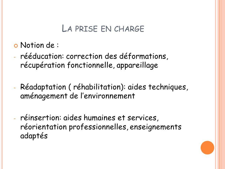 L A PRISE EN CHARGE Notion de : - rééducation: correction des déformations, récupération fonctionnelle, appareillage - Réadaptation ( réhabilitation):