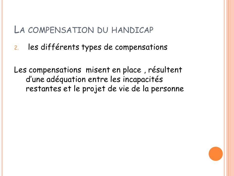 L A COMPENSATION DU HANDICAP 2. les différents types de compensations Les compensations misent en place, résultent dune adéquation entre les incapacit