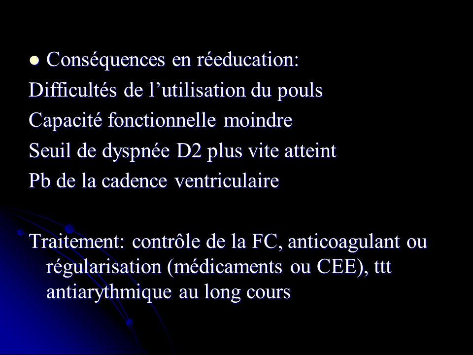 Conséquences en réeducation: Conséquences en réeducation: Difficultés de lutilisation du pouls Capacité fonctionnelle moindre Seuil de dyspnée D2 plus