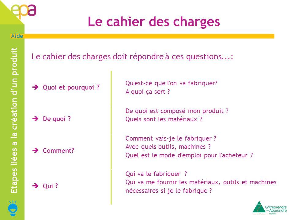 3 Aide Le cahier des charges Le cahier des charges doit répondre à ces questions...: Etapes liées a la création dun produit Quoi et pourquoi ? Qu'est-