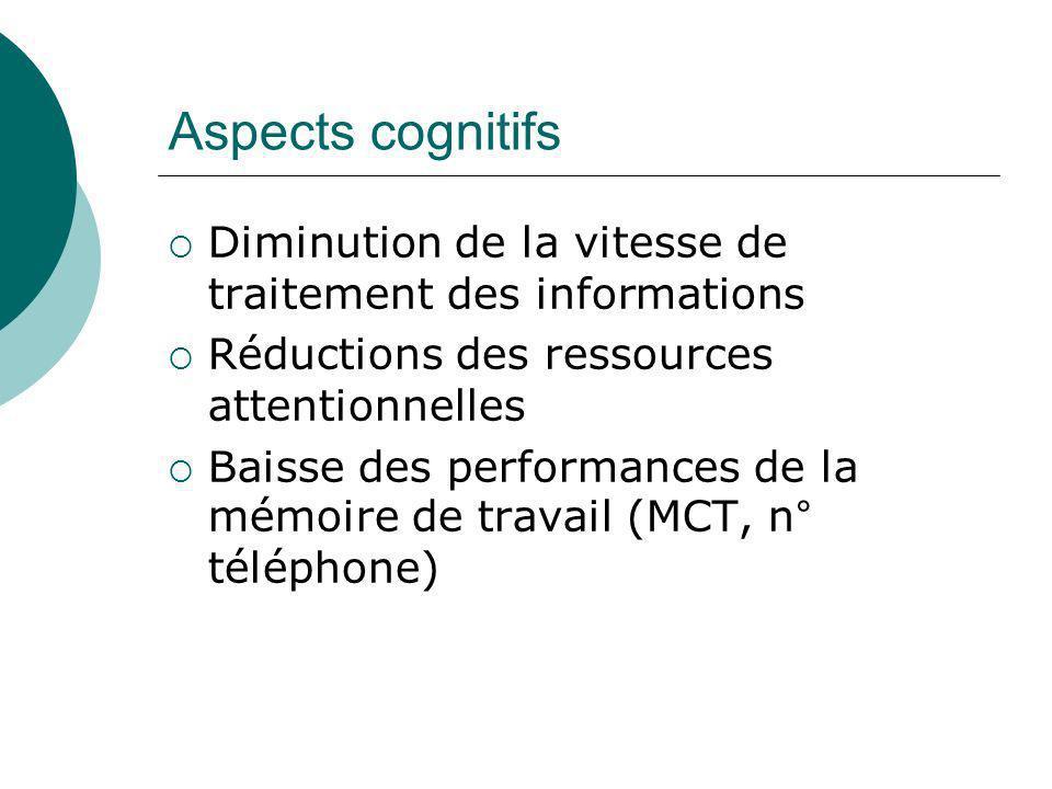 Aspects cognitifs Diminution de la vitesse de traitement des informations Réductions des ressources attentionnelles Baisse des performances de la mémo