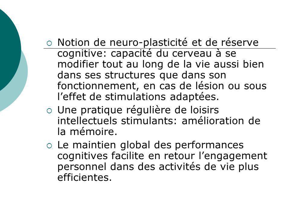 Notion de neuro-plasticité et de réserve cognitive: capacité du cerveau à se modifier tout au long de la vie aussi bien dans ses structures que dans s