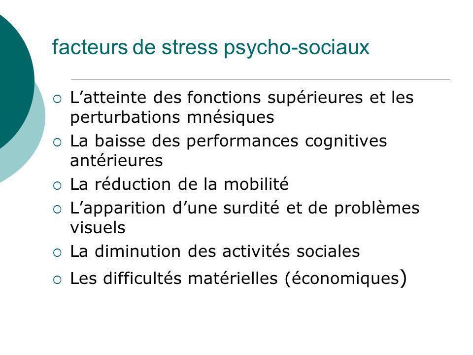 facteurs de stress psycho-sociaux Latteinte des fonctions supérieures et les perturbations mnésiques La baisse des performances cognitives antérieures