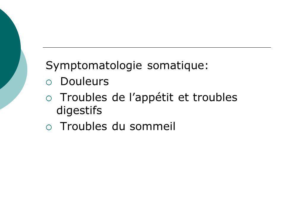 Symptomatologie somatique: Douleurs Troubles de lappétit et troubles digestifs Troubles du sommeil