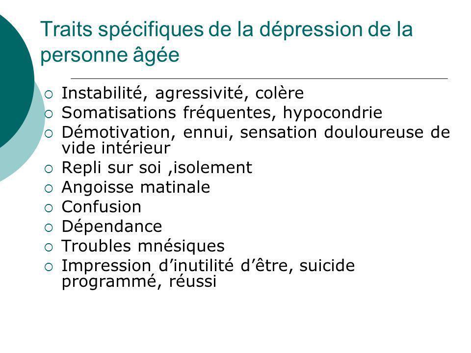 Traits spécifiques de la dépression de la personne âgée Instabilité, agressivité, colère Somatisations fréquentes, hypocondrie Démotivation, ennui, se
