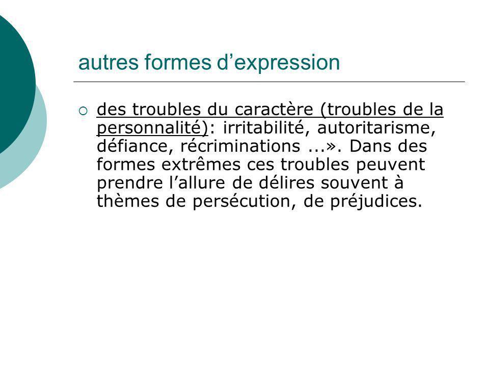 autres formes dexpression des troubles du caractère (troubles de la personnalité): irritabilité, autoritarisme, défiance, récriminations...». Dans des