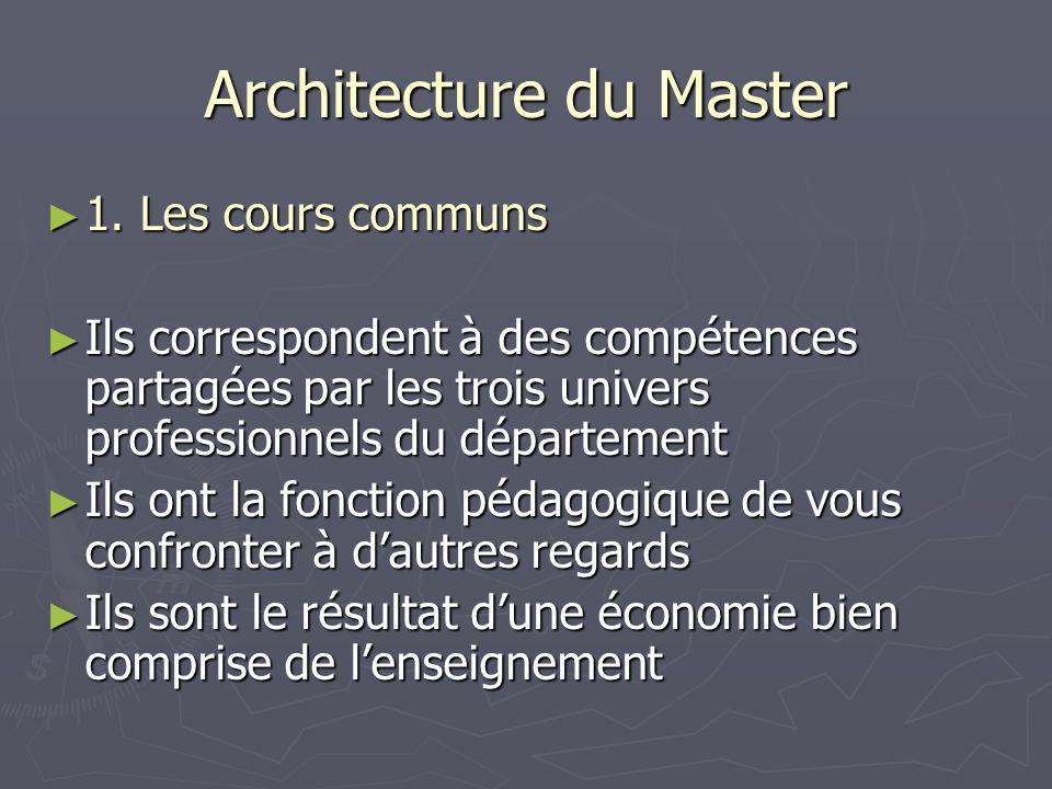 Architecture du Master 1. Les cours communs 1. Les cours communs Ils correspondent à des compétences partagées par les trois univers professionnels du