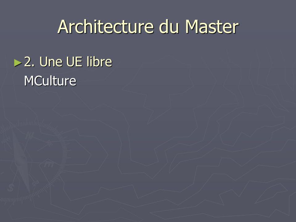 Architecture du Master 2. Une UE libre 2. Une UE libreMCulture