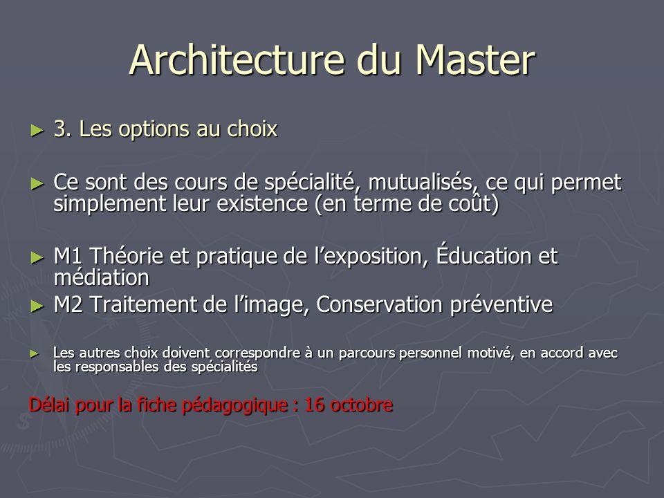 Architecture du Master 3. Les options au choix 3. Les options au choix Ce sont des cours de spécialité, mutualisés, ce qui permet simplement leur exis