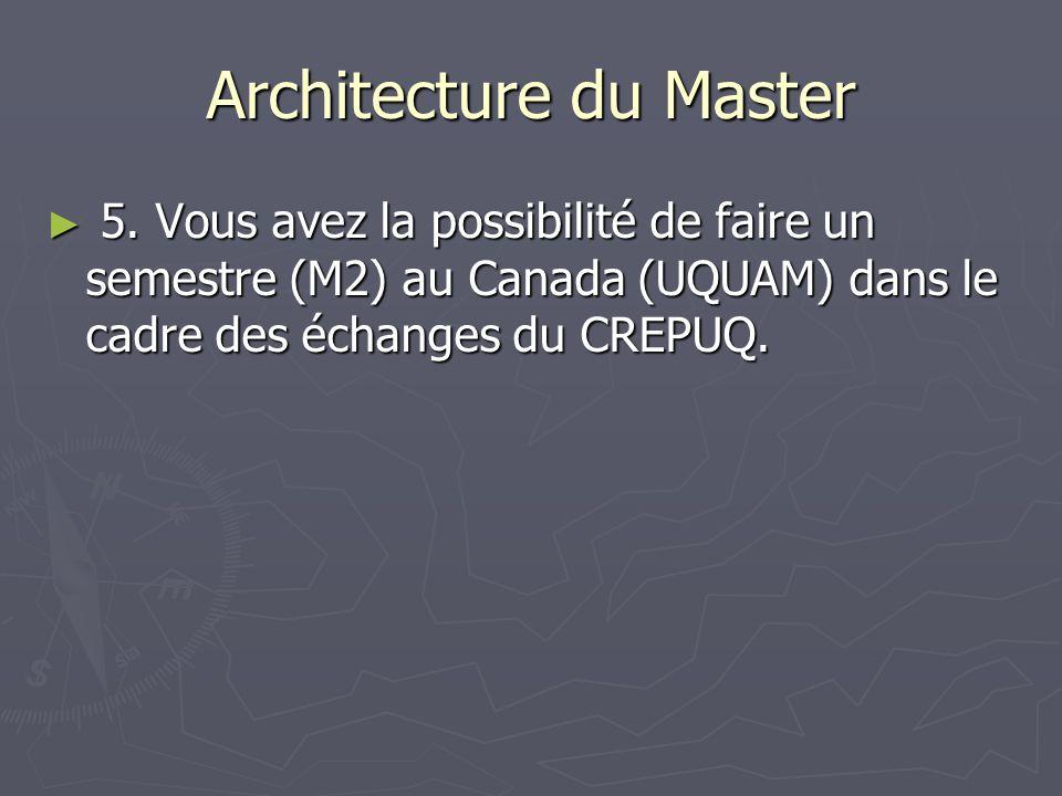 Architecture du Master 5. Vous avez la possibilité de faire un semestre (M2) au Canada (UQUAM) dans le cadre des échanges du CREPUQ. 5. Vous avez la p