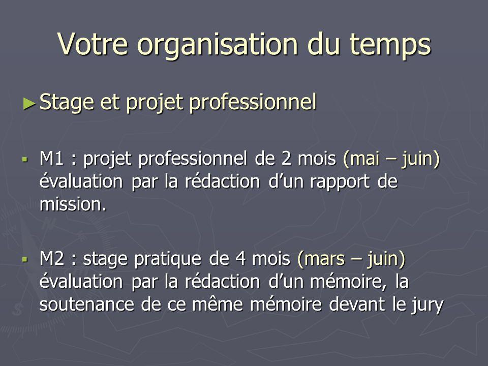 Votre organisation du temps Stage et projet professionnel Stage et projet professionnel M1 : projet professionnel de 2 mois (mai – juin) évaluation pa