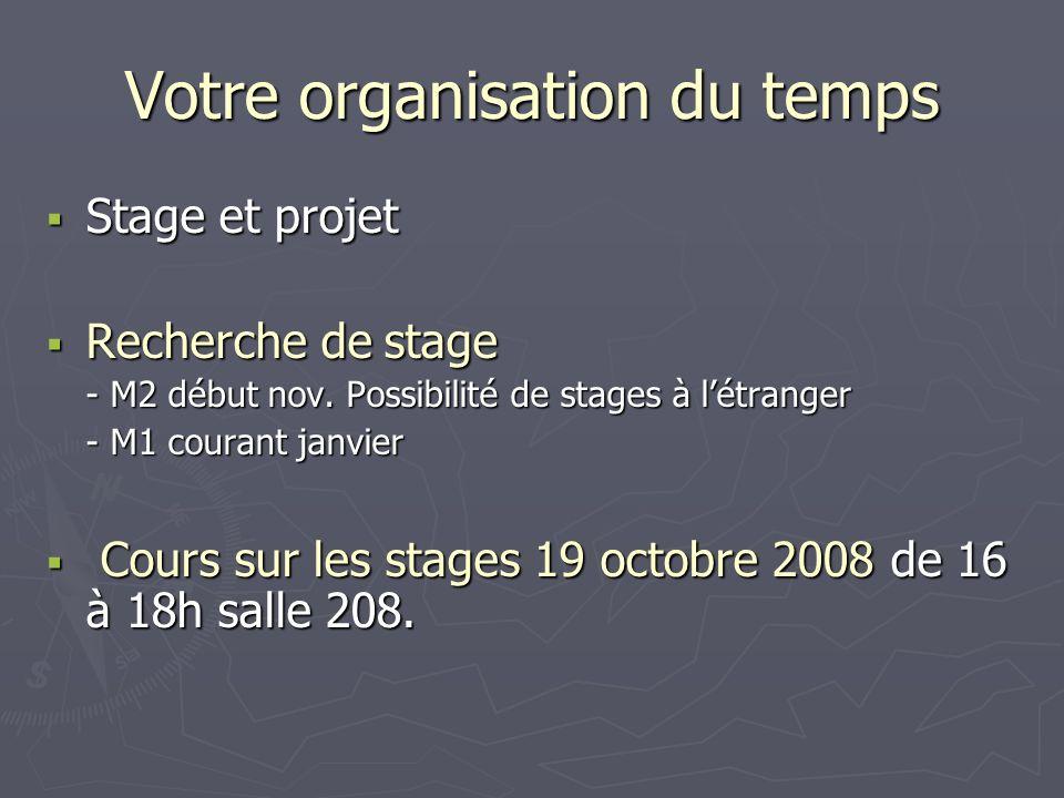 Votre organisation du temps Stage et projet Stage et projet Recherche de stage Recherche de stage - M2 début nov. Possibilité de stages à létranger -