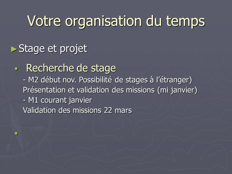 Votre organisation du temps Stage et projet Stage et projet Recherche de stage Recherche de stage - M2 début nov. Possibilité de stages à létranger) P