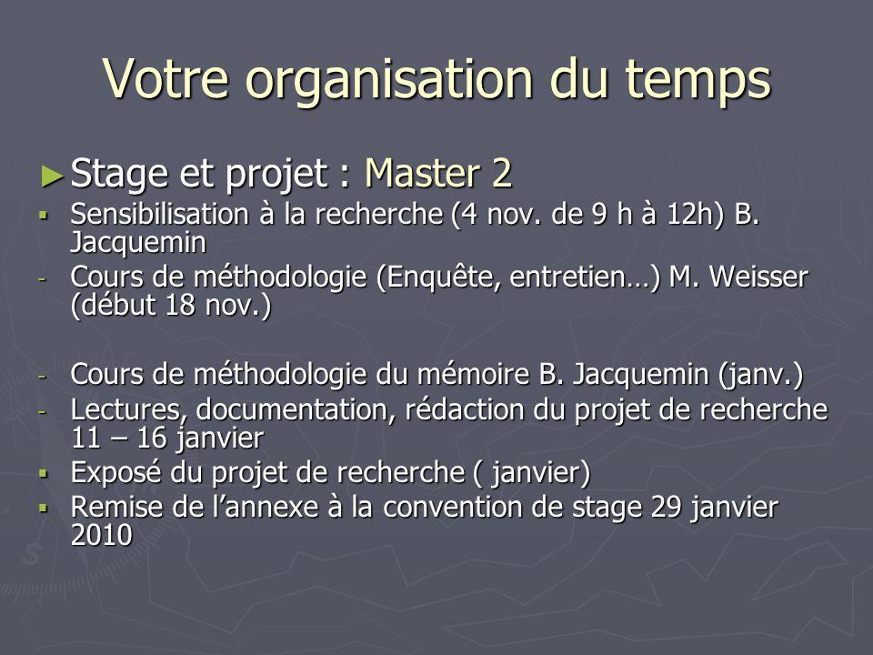Votre organisation du temps Stage et projet : Master 2 Stage et projet : Master 2 Sensibilisation à la recherche (4 nov. de 9 h à 12h) B. Jacquemin Se