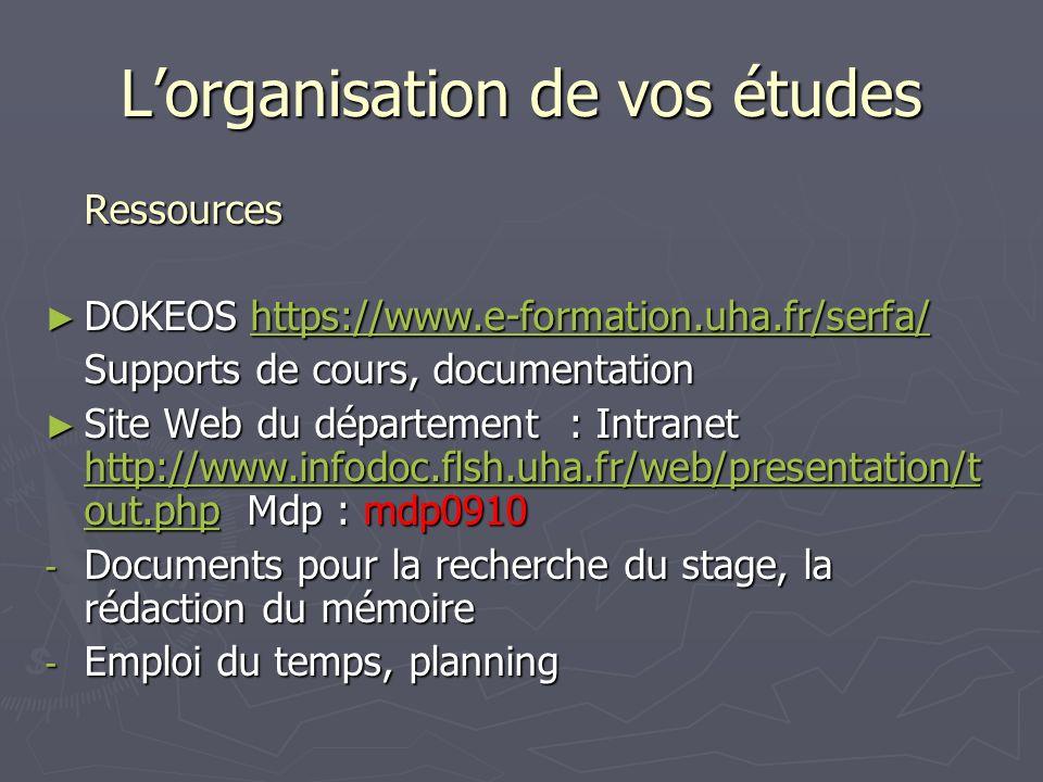 Lorganisation de vos études Ressources DOKEOS https://www.e-formation.uha.fr/serfa/ DOKEOS https://www.e-formation.uha.fr/serfa/https://www.e-formatio