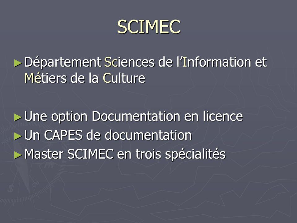 SCIMEC Succède à : - Maîtrise- DESS MECADOCTE puis MECADOCTO (Métiers de la Culture des archives et de la documentation), Licence GEIDOC, Maîtrise Sciences de la Documentation et de lInformation licence MECADOCTE option muséologie en 1987, DESS MECADOCTO en 2000- licence MECADOCTE option muséologie en 1987, DESS MECADOCTO en 2000-