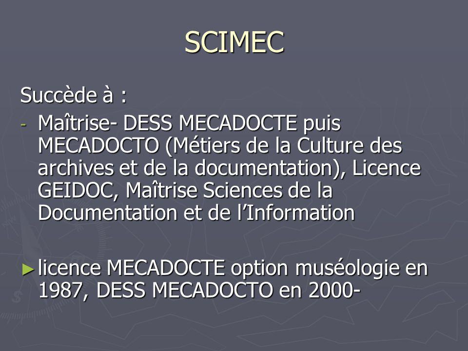 SCIMEC Succède à : - Maîtrise- DESS MECADOCTE puis MECADOCTO (Métiers de la Culture des archives et de la documentation), Licence GEIDOC, Maîtrise Sci