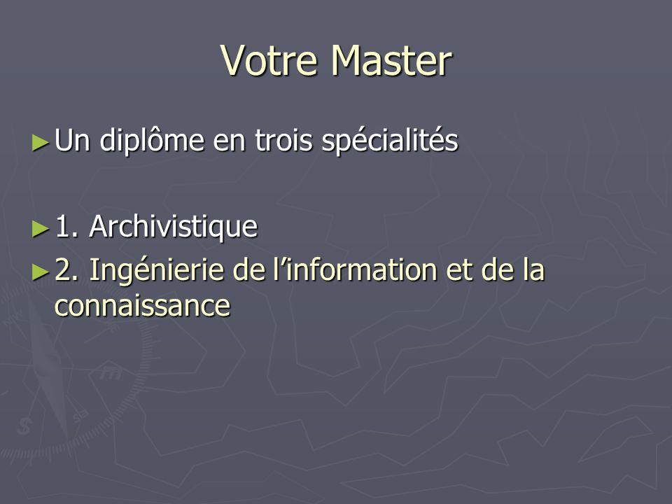 Votre Master Un diplôme en trois spécialités Un diplôme en trois spécialités 1. Archivistique 1. Archivistique 2. Ingénierie de linformation et de la