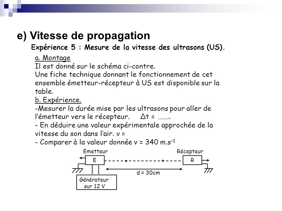 e) Vitesse de propagation Expérience 5 : Mesure de la vitesse des ultrasons (US). Générateur sur 12 V Emetteur Récepteur RE d = 30cm a. Montage Il est