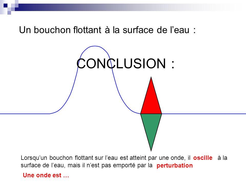 Un bouchon flottant à la surface de leau : CONCLUSION : Lorsquun bouchon flottant sur leau est atteint par une onde, ilà la surface de leau, mais il n