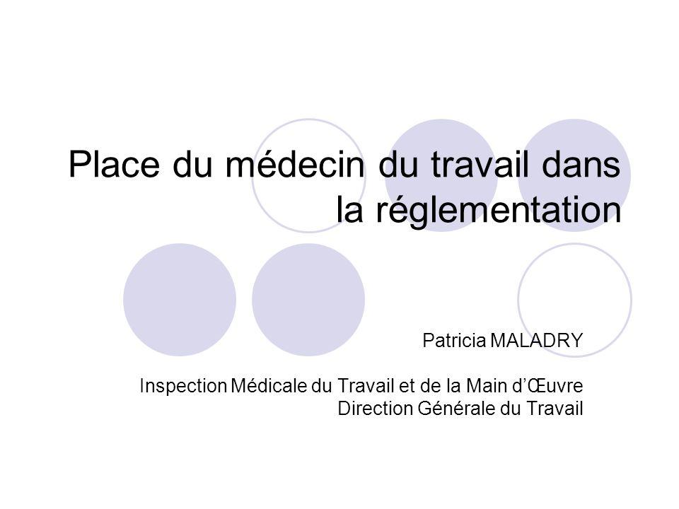 Place du médecin du travail dans la réglementation Patricia MALADRY Inspection Médicale du Travail et de la Main dŒuvre Direction Générale du Travail