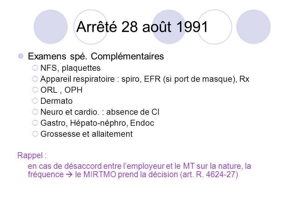 Arrêté 28 août 1991 Examens spé. Complémentaires NFS, plaquettes Appareil respiratoire : spiro, EFR (si port de masque), Rx ORL, OPH Dermato Neuro et