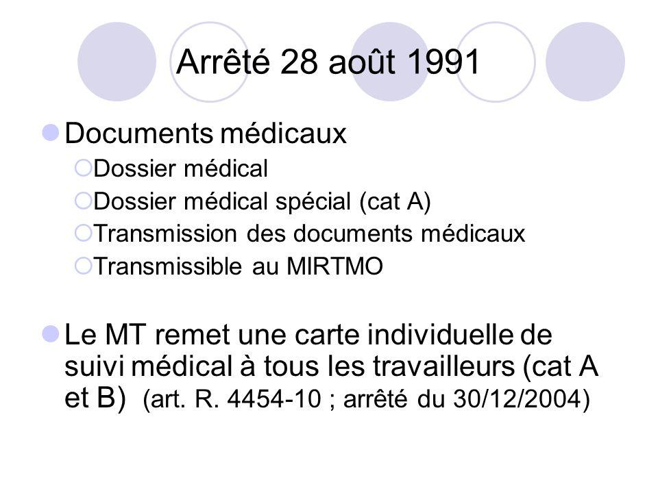 Arrêté 28 août 1991 Documents médicaux Dossier médical Dossier médical spécial (cat A) Transmission des documents médicaux Transmissible au MIRTMO Le