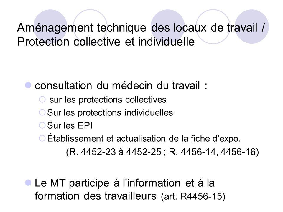 Aménagement technique des locaux de travail / Protection collective et individuelle consultation du médecin du travail : sur les protections collectiv