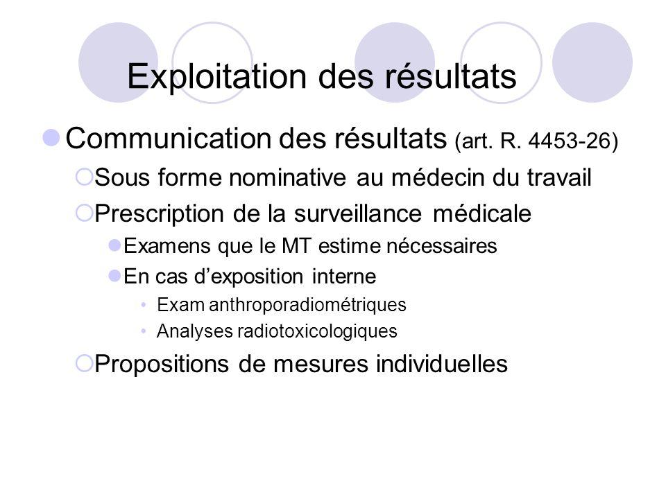 Exploitation des résultats Communication des résultats (art. R. 4453-26) Sous forme nominative au médecin du travail Prescription de la surveillance m