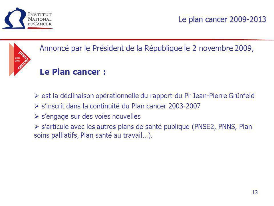 13 Le plan cancer 2009-2013 Annoncé par le Président de la République le 2 novembre 2009, Le Plan cancer : est la déclinaison opérationnelle du rappor