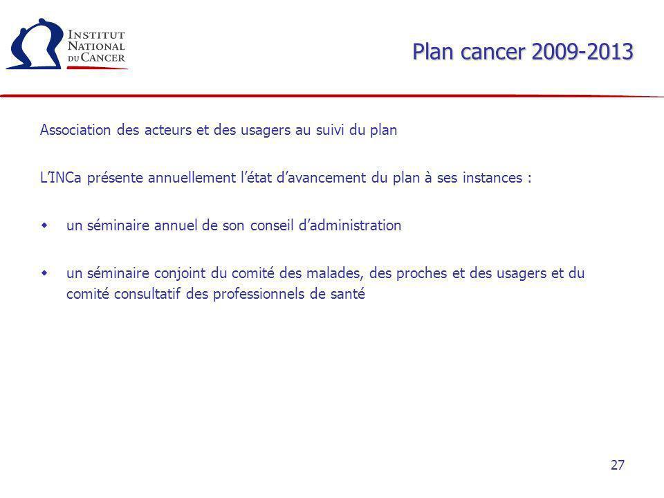27 Plan cancer 2009-2013 Association des acteurs et des usagers au suivi du plan LINCa présente annuellement létat davancement du plan à ses instances