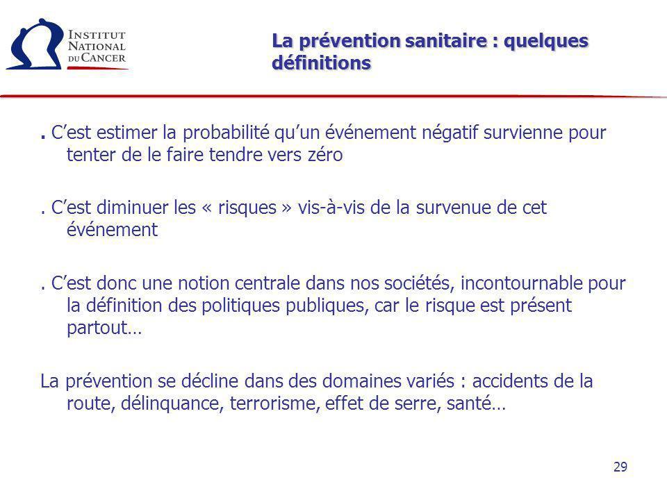 29 La prévention sanitaire : quelques définitions. Cest estimer la probabilité quun événement négatif survienne pour tenter de le faire tendre vers zé