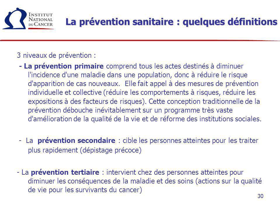 30 La prévention sanitaire : quelques définitions 3 niveaux de prévention : - La prévention primaire comprend tous les actes destinés à diminuer l'inc