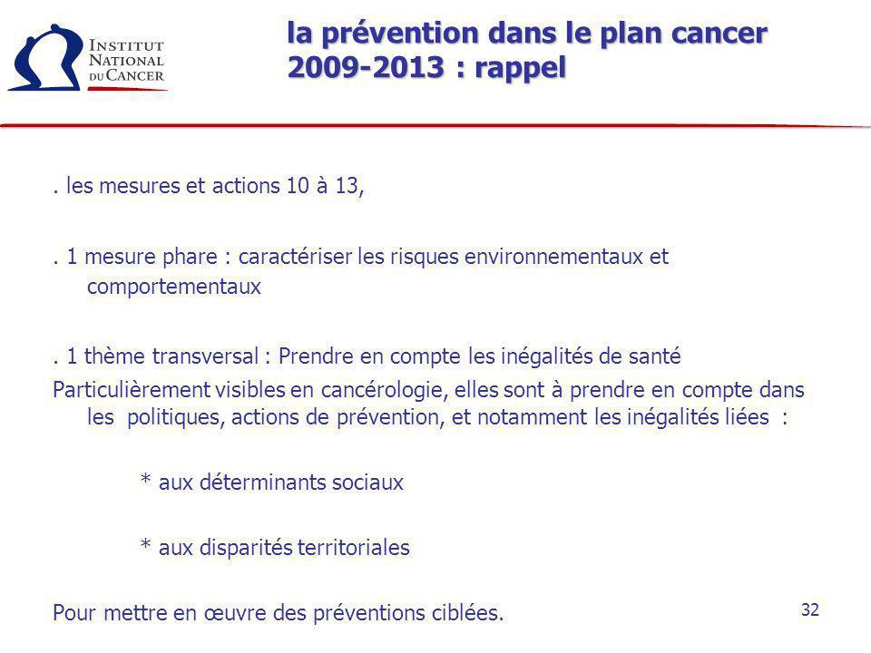 32 la prévention dans le plan cancer 2009-2013 : rappel. les mesures et actions 10 à 13,. 1 mesure phare : caractériser les risques environnementaux e