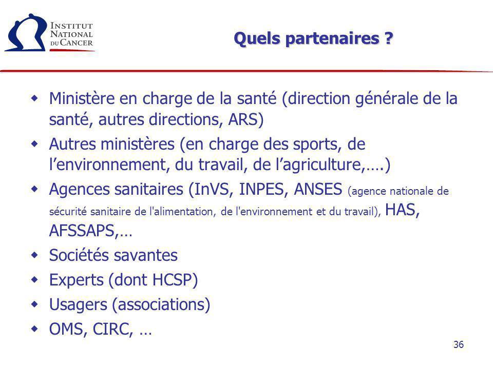 36 Quels partenaires ? Ministère en charge de la santé (direction générale de la santé, autres directions, ARS) Autres ministères (en charge des sport