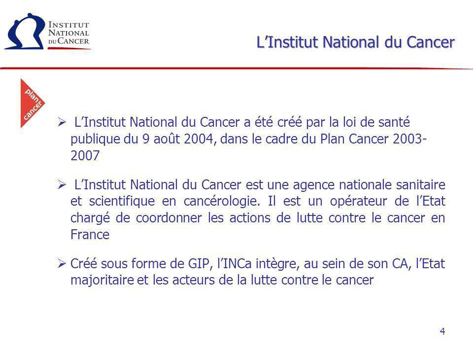 4 LInstitut National du Cancer LInstitut National du Cancer a été créé par la loi de santé publique du 9 août 2004, dans le cadre du Plan Cancer 2003-