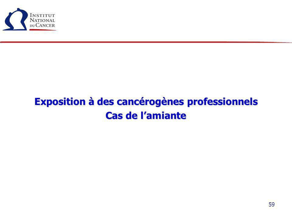 59 Exposition à des cancérogènes professionnels Cas de lamiante