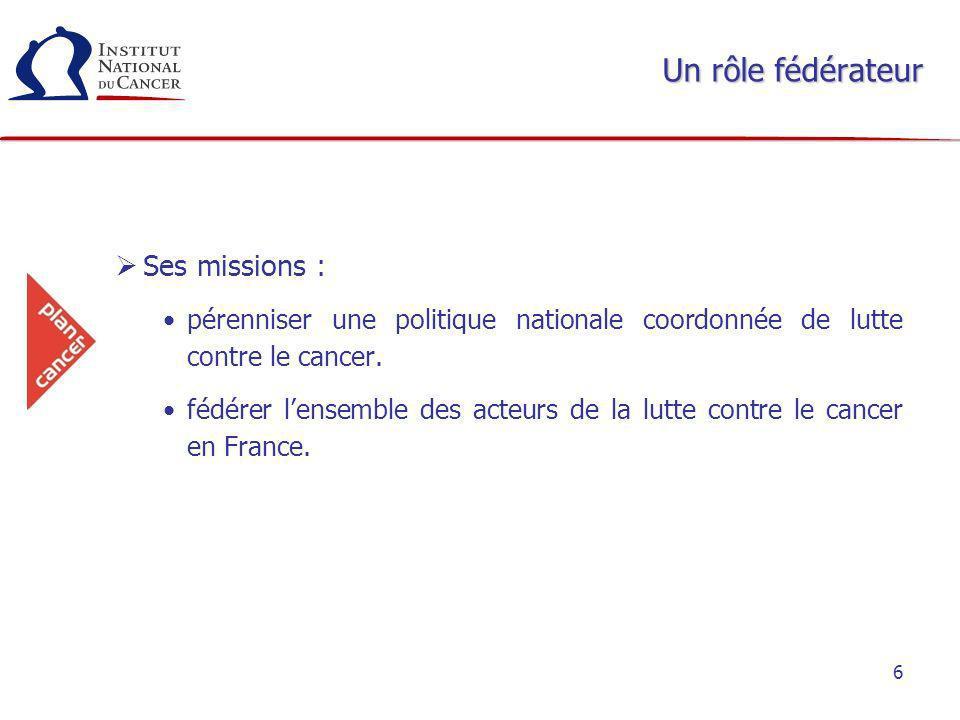 6 Un rôle fédérateur Ses missions : pérenniser une politique nationale coordonnée de lutte contre le cancer. fédérer lensemble des acteurs de la lutte