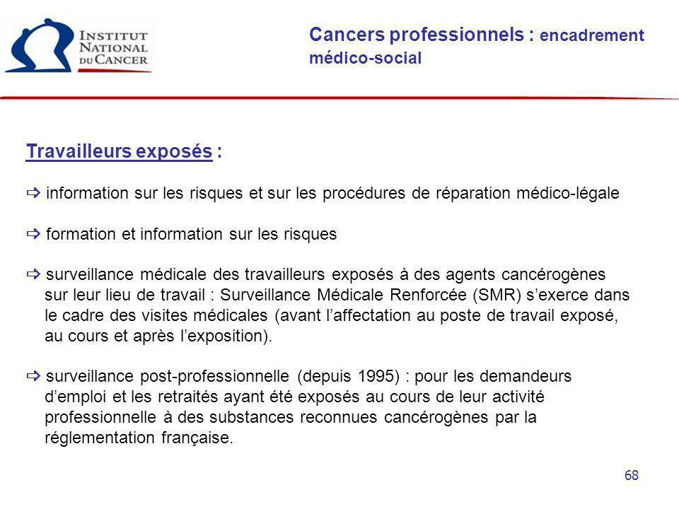 68 Cancers professionnels : encadrement médico-social Travailleurs exposés : information sur les risques et sur les procédures de réparation médico-lé