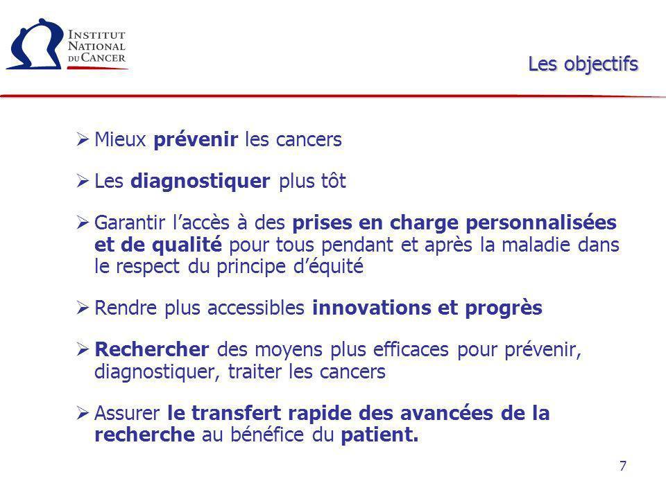 7 Mieux prévenir les cancers Les diagnostiquer plus tôt Garantir laccès à des prises en charge personnalisées et de qualité pour tous pendant et après