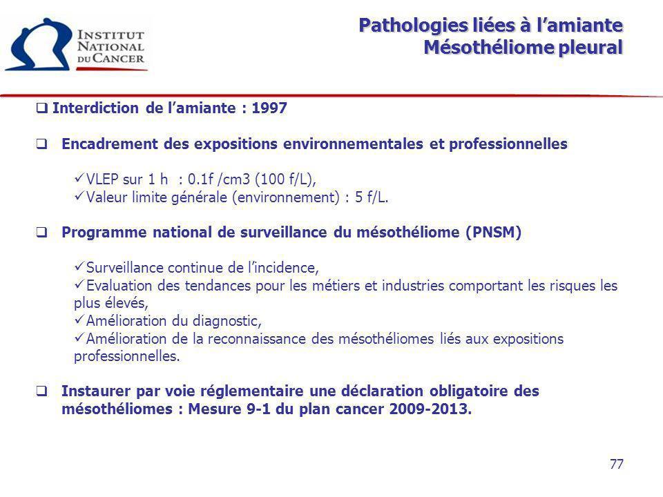 77 Pathologies liées à lamiante Mésothéliome pleural Interdiction de lamiante : 1997 Encadrement des expositions environnementales et professionnelles