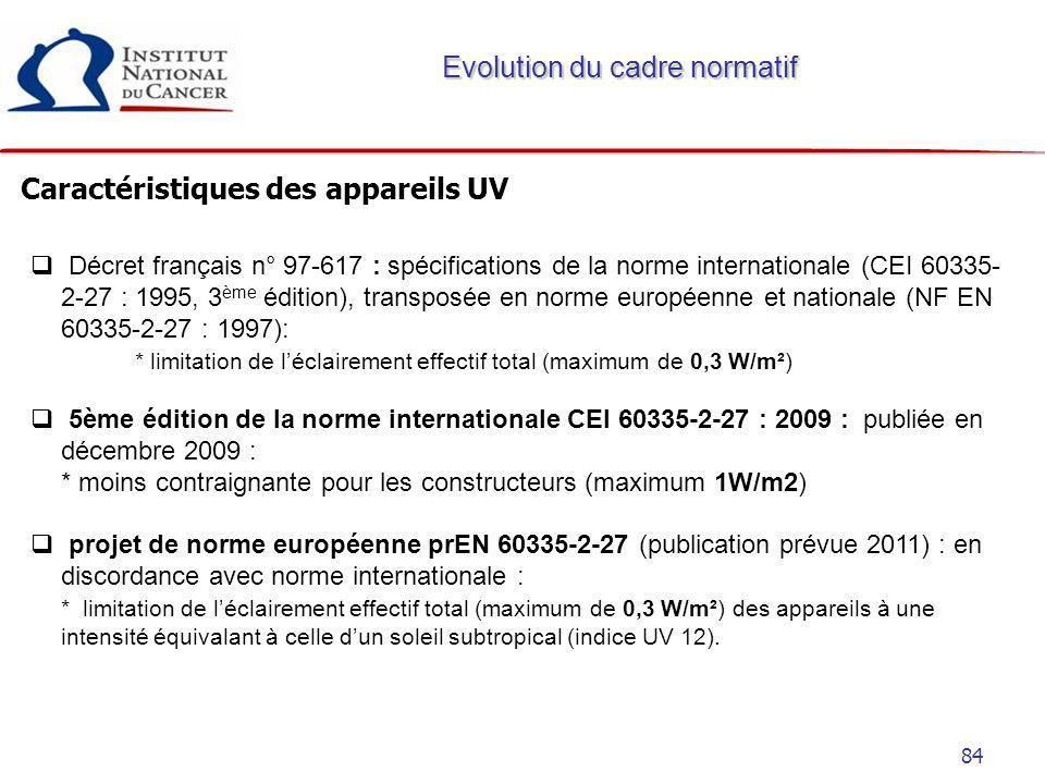 84 Caractéristiques des appareils UV Evolution du cadre normatif Décret français n° 97-617 : spécifications de la norme internationale (CEI 60335- 2-2