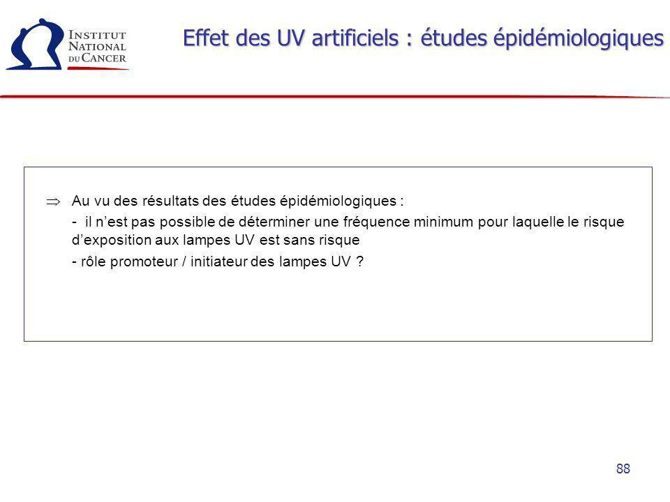 88 Effet des UV artificiels : études épidémiologiques Au vu des résultats des études épidémiologiques : - il nest pas possible de déterminer une fréqu
